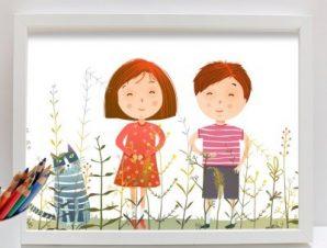 Στο λιβάδι Παιδικά Πίνακες σε καμβά 40 x 60 cm
