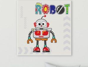Ρομπότ Παιδικά Πίνακες σε καμβά 50 x 50 cm
