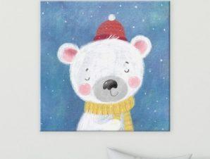 Πολικό αρκουδάκι Παιδικά Πίνακες σε καμβά 50 x 50 cm