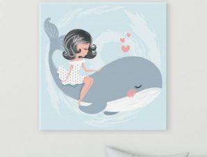 Κορίτσι πάνω σε φάλαινα Παιδικά Πίνακες σε καμβά 50 x 50 cm
