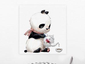 Πάντα πίνει τσάι Παιδικά Πίνακες σε καμβά 50 x 50 cm