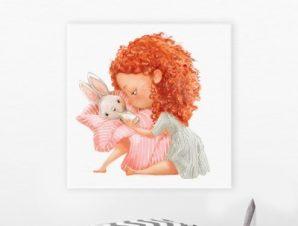 Κοριτσάκι με κουνελάκι Παιδικά Πίνακες σε καμβά 50 x 50 cm