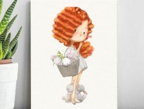 Χωριτωμένο κορίτσι με κουνελάκια Παιδικά Πίνακες σε καμβά 53 x 40 cm