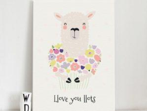 Πρόβατο με λουλούδια Παιδικά Πίνακες σε καμβά 52 x 40 cm
