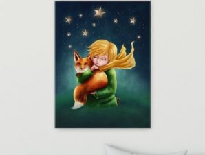 Κοπέλα κρατάει αλεπού Παιδικά Πίνακες σε καμβά 53 x 40 cm