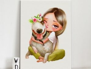 Κορίτσι αγκαλιάζει σκύλο Παιδικά Πίνακες σε καμβά 54 x 40 cm