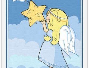 Αγγελάκι κρατά ένα αστέρι Παιδικά Πίνακες σε καμβά 63 x 45 cm