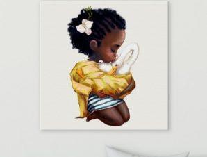 Παιδί φιλάει κύκνο Παιδικά Πίνακες σε καμβά 50 x 50 cm