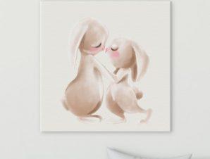 Ζευγάρι κουνελάκια Παιδικά Πίνακες σε καμβά 50 x 50 cm