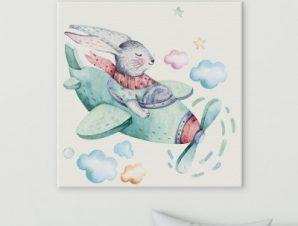Κουνελάκι πιλότος Παιδικά Πίνακες σε καμβά 50 x 50 cm