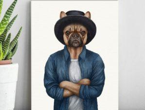 Σκύλος με σταυρωμένα χέρια Παιδικά Πίνακες σε καμβά 68 x 40 cm