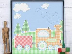 Τρενάκι Παιδικά Πίνακες σε καμβά 50 x 50 cm