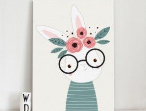 Λαγουδάκι με γυαλιά Παιδικά Πίνακες σε καμβά 56 x 40 cm
