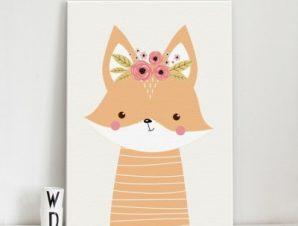 Χαριτωμένη αλεπού Παιδικά Πίνακες σε καμβά 56 x 40 cm