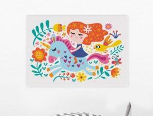 Κοριτσάκι πάνω σε μονόκερο Παιδικά Πίνακες σε καμβά 46 x 65 cm