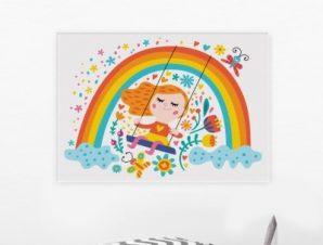 Κοριτσάκι κάνει κούνια Παιδικά Πίνακες σε καμβά 46 x 65 cm