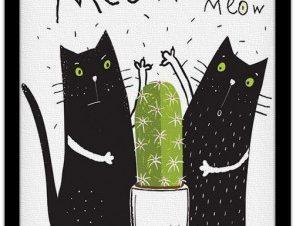 Γάτες & κάκτος Παιδικά Πίνακες σε καμβά 44 x 40 cm
