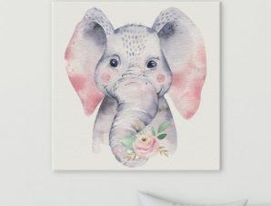 Χαριτωμένος ελέφαντας Παιδικά Πίνακες σε καμβά 50 x 50 cm