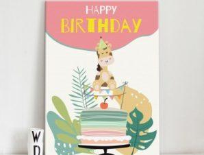 Χαρούμενα γενέθλια Παιδικά Πίνακες σε καμβά 56 x 40 cm