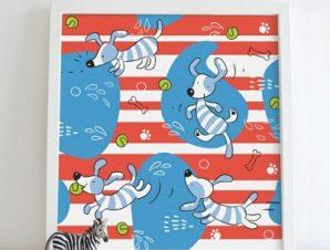 Σχέδιο με μικρά σκυλάκια Παιδικά Πίνακες σε καμβά 50 x 50 cm