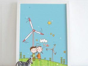 Παιδιά σε ανεμογεννήτριες Παιδικά Πίνακες σε καμβά 58 x 45 cm