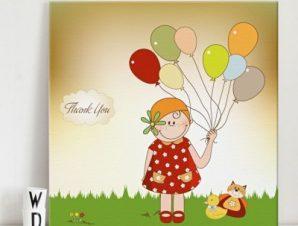 Κοριτσάκι λέει ευχαριστώ Παιδικά Πίνακες σε καμβά 50 x 50 cm