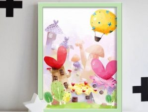 Ρομαντικό χωριό Παιδικά Πίνακες σε καμβά 60 x 40 cm