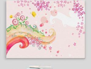 Παραμυθένιο ροζ σκηνικό Παιδικά Πίνακες σε καμβά 42 x 60 cm