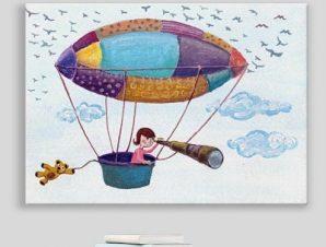 Κοριτσάκι στο αερόστατο Παιδικά Πίνακες σε καμβά 43 x 60 cm
