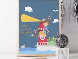 Παιδάκια στον φάρο Παιδικά Πίνακες σε καμβά 56 x 45 cm