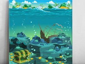 Θησαυρός στον ωκεανό Παιδικά Πίνακες σε καμβά 50 x 50 cm