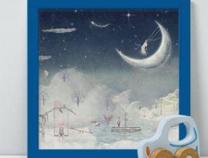 Φανταστική πόλη στον ουρανό Παιδικά Πίνακες σε καμβά 48 x 50 cm