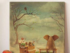 Στοχαστικό ελεφαντάκι Παιδικά Πίνακες σε καμβά 50 x 50 cm