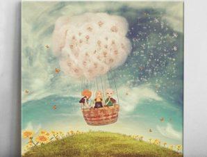 Παιδιά σε μπαλόνι Παιδικά Πίνακες σε καμβά 50 x 50 cm