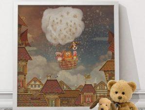 Ζωάκια σε αερόστατο Παιδικά Πίνακες σε καμβά 50 x 50 cm