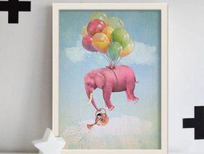 Ροζ ελεφαντάκι πετάει! Παιδικά Πίνακες σε καμβά 58 x 45 cm