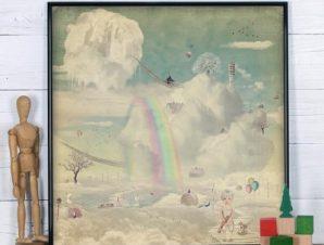 Ονειρεμένη πόλη στον ουρανό Παιδικά Πίνακες σε καμβά 50 x 50 cm