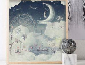 Φανταστική πόλη στο μισοφέγγαρο Παιδικά Πίνακες σε καμβά 50 x 50 cm
