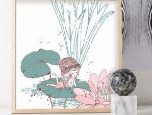 Κοριτσάκι ξαπλωμένο σε νούφαρο Παιδικά Πίνακες σε καμβά 50 x 50 cm