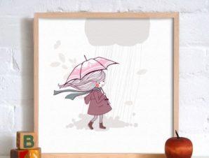 Κοριτσάκι στη βροχή Παιδικά Πίνακες σε καμβά 50 x 50 cm