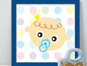 Μωρό με πιπίλα Παιδικά Πίνακες σε καμβά 48 x 53 cm