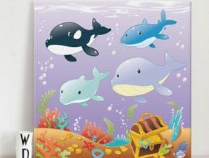 Θαλάσσια ζώα Παιδικά Πίνακες σε καμβά 50 x 50 cm