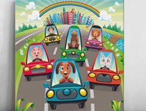 Ζώα στον αυτοκινητόδρομο Παιδικά Πίνακες σε καμβά 50 x 50 cm