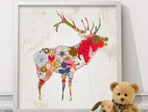 Τάρανδος ρετρό Παιδικά Πίνακες σε καμβά 50 x 50 cm