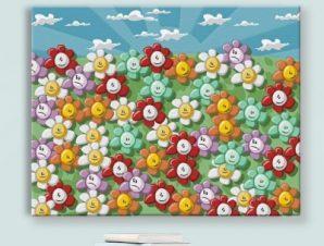 Φόντο με λουλούδια Παιδικά Πίνακες σε καμβά 44 x 58 cm
