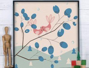 Ρομαντικό φόντο με πουλιά Παιδικά Πίνακες σε καμβά 50 x 50 cm