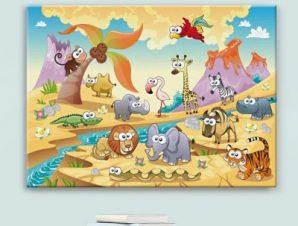 Φόντο με ζώα Παιδικά Πίνακες σε καμβά 42 x 60 cm