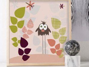 Πουλί και λιβελλούλες Παιδικά Πίνακες σε καμβά 50 x 50 cm