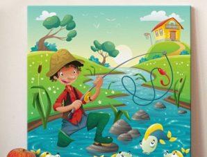 Ο ψαράς Παιδικά Πίνακες σε καμβά 50 x 50 cm