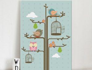 Πουλιά σε κλαδιά δέντρου Παιδικά Πίνακες σε καμβά 59 x 42 cm